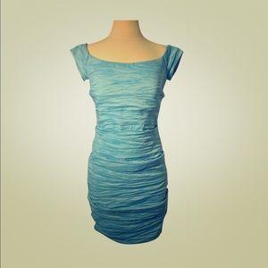 Aqua Blue Ruched Cocktail Dress